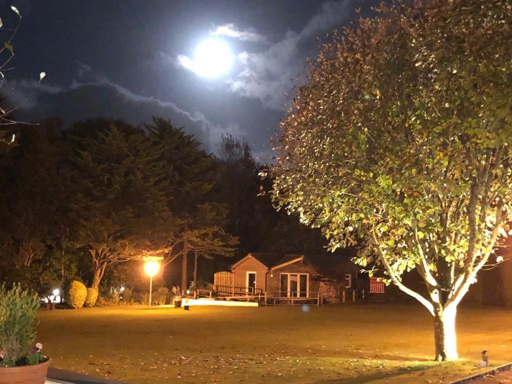 Night time shot of cabin